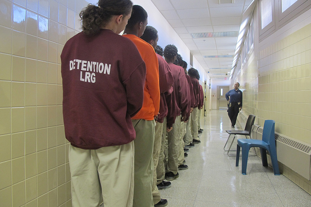 Juveniles line up in the hallway outside of a classroom at the Vel R. Phillips Juvenile Justice Center, 10201 W. Watertown Plank Road in Wauwatosa. (Photo by Edgar Mendez)