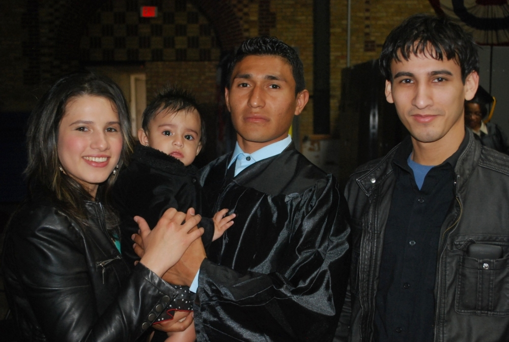 Tomas Barrios celebrated earning his high school diploma with his family at the SDC GED/HSED graduation.