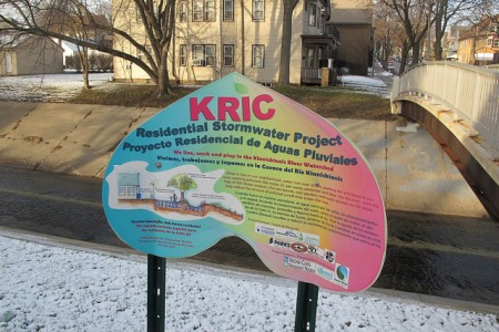 Changes resulting from a flood control project on the Kinnickinnic River prompted Iris Gonzalez to create a new neighborhood organization. (Photo by Edgar Mendez)