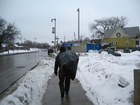 Scrapper Jerry Miller collects cans on Fond Du Lac Avenue. (Photo by Brendan O'Brien)