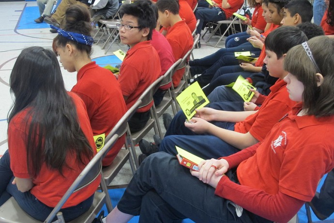 Students from Christ-St. Peter Lutheran School were among the first to receive pledge cards. (Photo by Edgar Mendez)