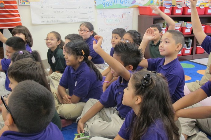 Students at Rocketship Southside Community Prep participate in a lesson. (Photo by Shakara Robinson)