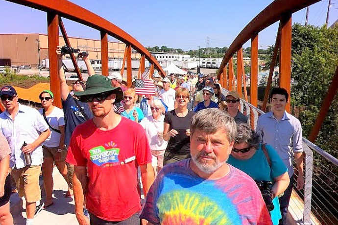 Several hundred people came to celebrate the grand opening of Three Bridges Park last summer. The project won a MANDI. (Photo by Brendan O'Brien)