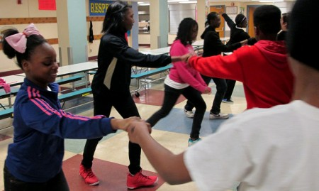 Westside Academy II sixth-graders practice ballroom dancing steps in preparation for the 2014 Mad Hot Ballroom and Tap Competition slated for May 17. (Photo by Andrea Waxman)
