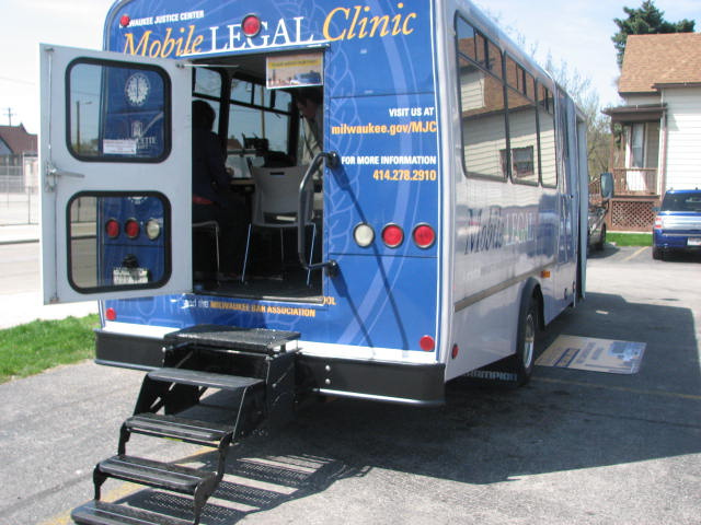 The Mobile Legal Clinic, a project of Marquette University Law School and the Milwaukee Bar Association, is parked in the lot at the Forest Home Library during a free walk-in law clinic. (Photo by Brendan O'Brien)