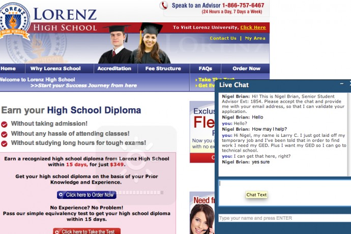 Lorenz High School is one of several unaccredited online operations that claim to offer applicants access to a GED certificate for a fee. (Online image capture 4/15/14 by Scottie Lee Meyers)
