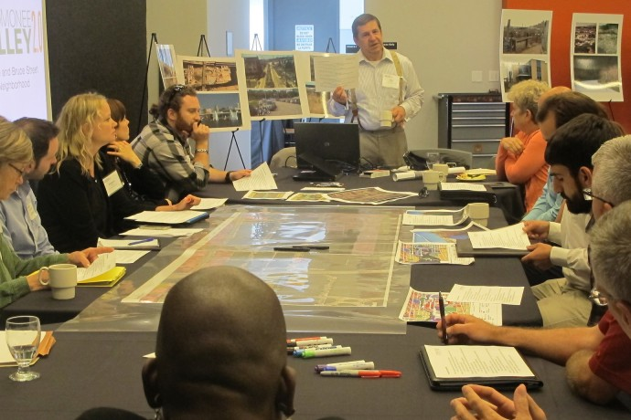 John Sabinash, vice president of Zimmerman Architectural Studios, and other urban planners led a series of discussions about economic growth, land use, recreation and sustainability in the Menomonee Valley. (Photo by Scottie Lee Meyers)