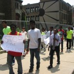 Youth march in the peace walk. (Photo by Brittany Carloni)