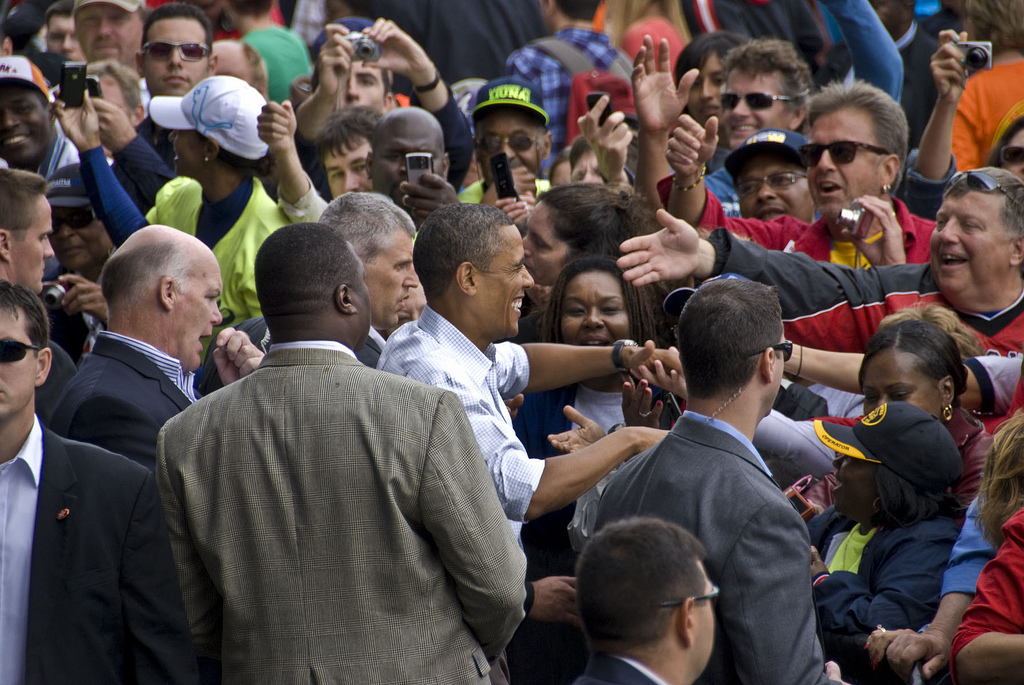 President Obama mingles with the crowd at Milwaukee's Laborfest on Labor Day, 2010. (Photo courtesy of Wisconsin AFL-CIO)