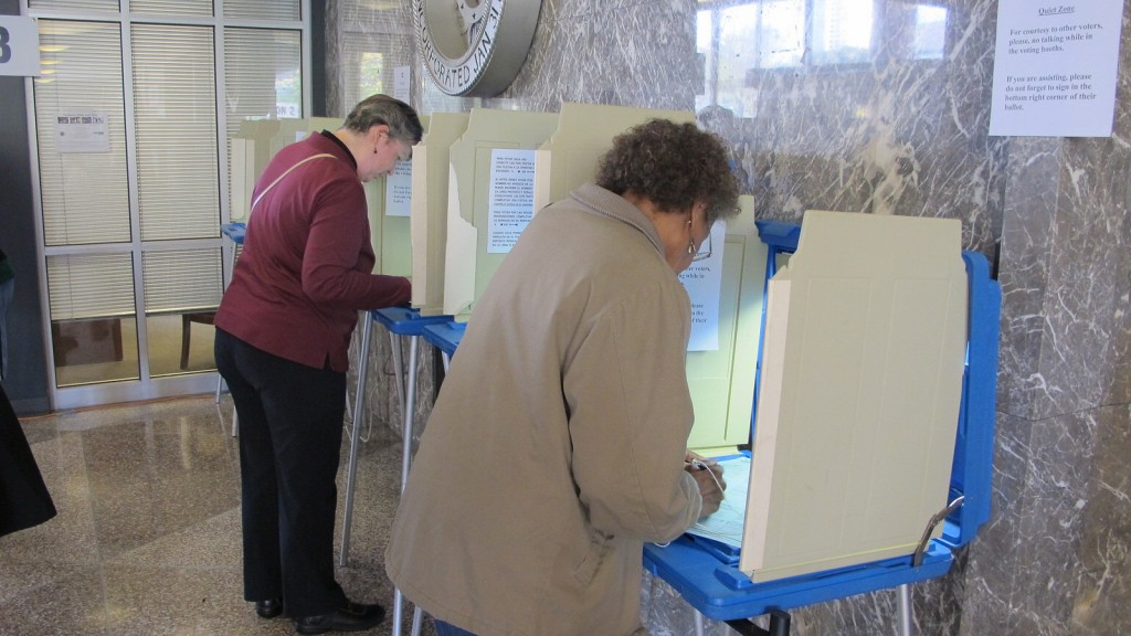 Voters cast their ballots at the Zeidler Municipal Building on the first day of early voting. (Photo by Andrea Waxman)