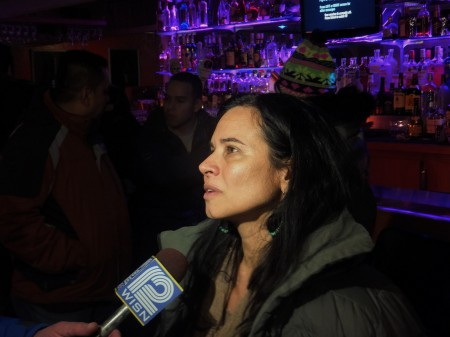 Christine Neumann-Ortiz, founder and executive director of Voces de la Frontera, reacts to President Obama's executive order on immigration. (Photo by Matthew Wisla)