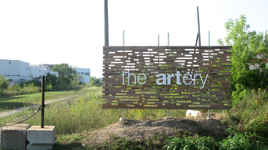 One of four entrances to the Artery, near Keefe Avenue and Richards Street in the Harambee neighborhood. (Photo by Andrea Waxman)
