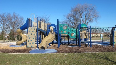 Several new playground structures were added in Johnsons Park in an earlier phase of the reconstruction initiative. (Photo by Andrea Waxman)