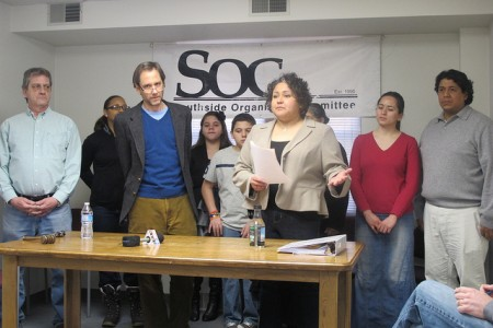 Steve Fendt (in blue sweater) often held press conferences featuring local legislators including State Rep. JoCasta Zamarripa to draw attention to policy issues. (Photo by Edgar Mendez)
