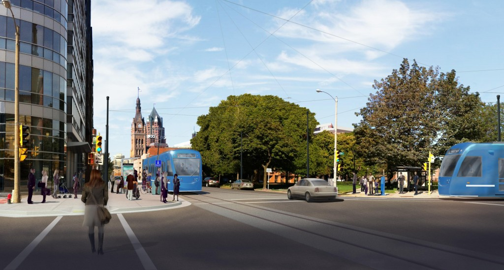 A rendering of the proposed Milwaukee Streetcar, downtown on Wells. (Photo courtesy of www.milwaukeestreetcar.com)